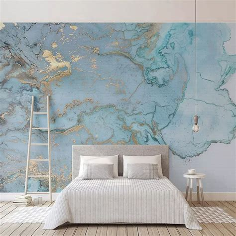 custom photo wallpapers  stereo blue texture marble wall