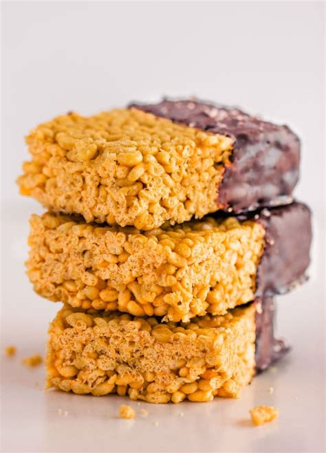 healthy rice crispy treats with peanut butter one clever