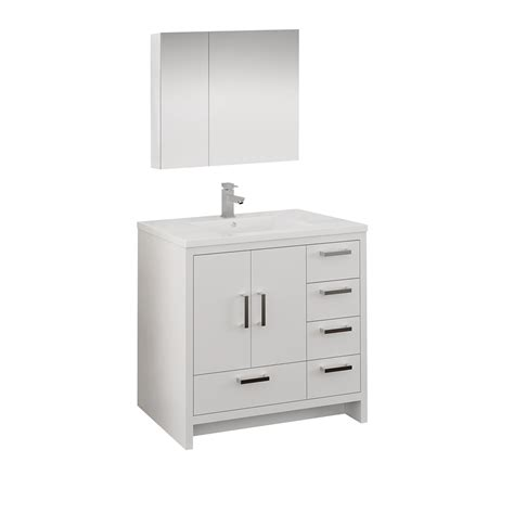 Freestanding Medicine Cabinet by 36 Quot Glossy White Free Standing Bathroom Vanity W Medicine