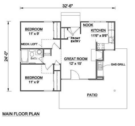 size bed cottage style house plan 2 beds 1 00 baths 700 sq ft 15329