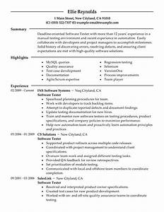 Sample Resume For Manual Test Engineer