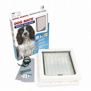 Dog mate 215w medium dog door white for Dog door size by breed