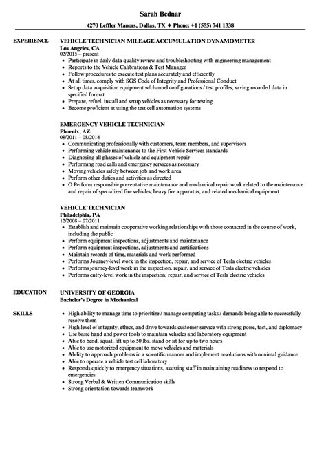 vehicle technician resume samples velvet jobs