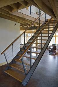 steel and cherry stair - Industrial - Staircase