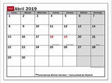Calendario abril 2019, Comunidad de Madrid Michel