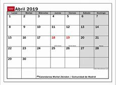Calendario abril 2019, Comunidad de Madrid Michel