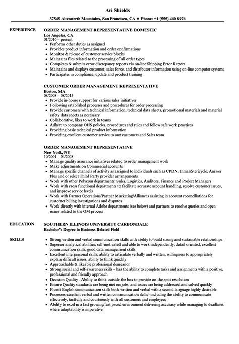 Order Processing Resume by Order Management Representative Resume Sles Velvet
