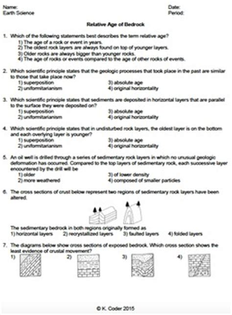 Worksheet  Relative Age Of Bedrock *editable* Tpt