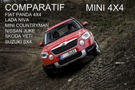 quel est le meilleur mini 4x4 fiat panda 4x4 lada niva mini countryman nissan juke skoda