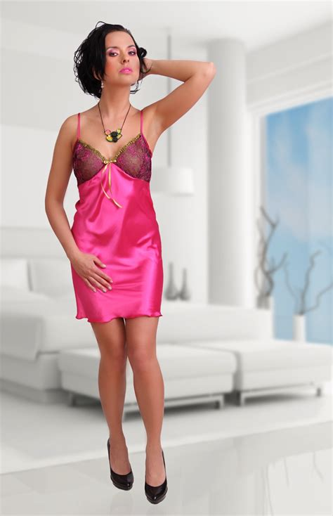 windy blouse white shocking pink satin nightie elise ml0004 idresstocode