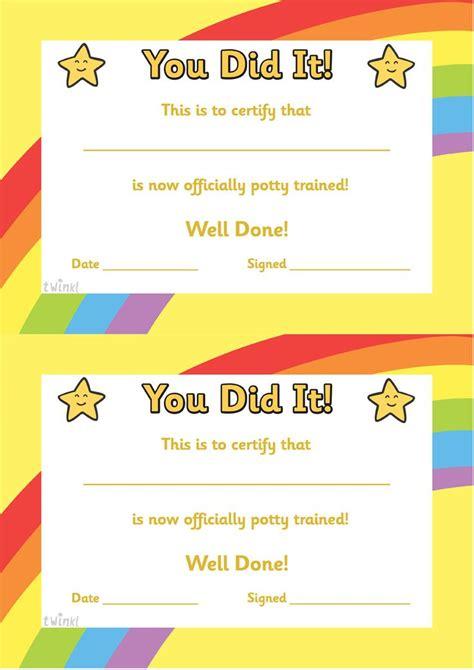 twinkl resources gt gt potty certificate