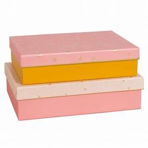 Boite De Rangement Maison Du Monde : 2 bo tes de rangement en carton rose et jaune motifs maisons du monde ~ Preciouscoupons.com Idées de Décoration