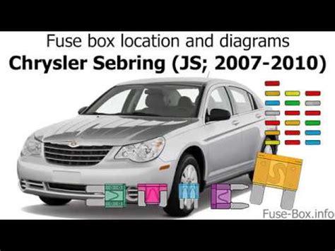 fuse box location  diagrams chrysler sebring js