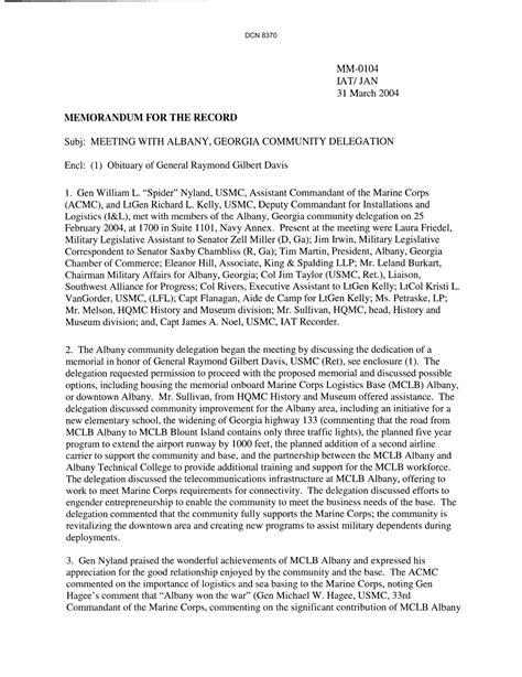 department   navy memorandum   record