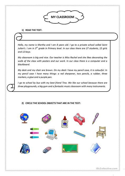 my classroom reading comprehension worksheet free esl printable worksheets made by teachers