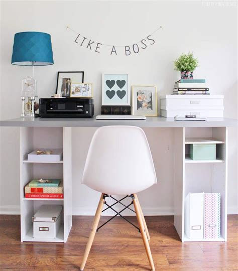 Ikea Hack Desk With Storage Shelves  Pretty Providence