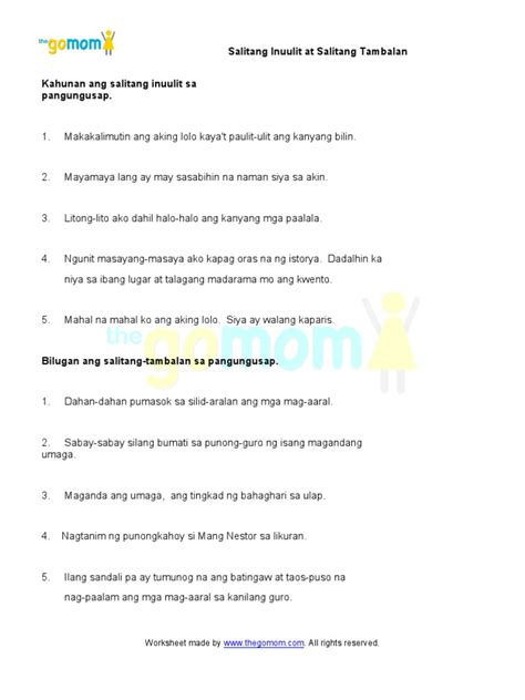 collection of worksheets bahagi ng pangungusap