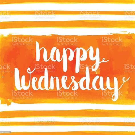Happy Wednesday Watercolor Hand Paint Greeting Card Stock