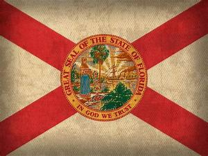 Florida State Flag Art On Worn Canvas Mixed Media by