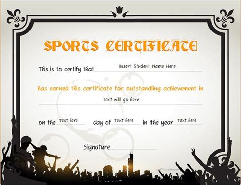 sport certificate templates for word sports