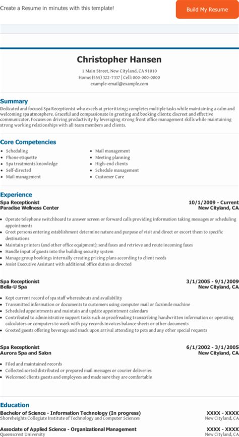 receptionist resume templates for free formtemplate