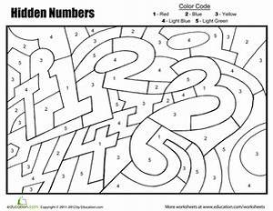 Coloring by Numbers: Hidden Numbers   Worksheet ...
