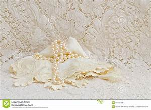 Vintage Lace Handkerchief And Pearls Stock Photo - Image ...