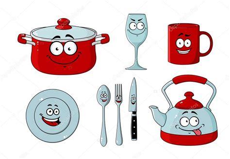 dessin animé ensemble de vaisselle et ustensiles de