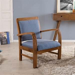 Fauteuil En Bois : fauteuil en teck tissu bleu kad univers du salon ~ Teatrodelosmanantiales.com Idées de Décoration