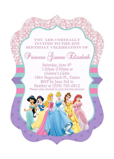 5th birthday invitation card template princess birthday invitations template invitation