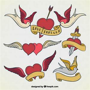 Heart tattoos collection Vector | Free Download