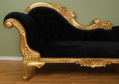 chaise velours chaise lounge gold finish with black velour