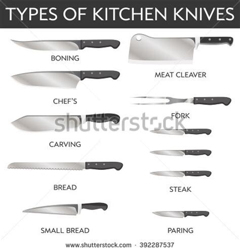 different kinds of kitchen knives vector clip types kitchen knives stock vector