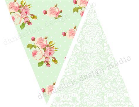 shabby chic banner printable pennant banner shabby chic party collection