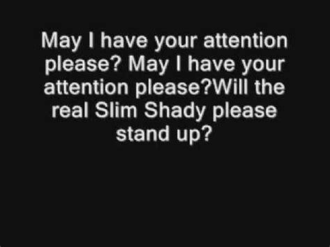 Real Slim Shady Please Stand Up by Eminem The Real Slim Shady Uncencored Lyrics Youtube