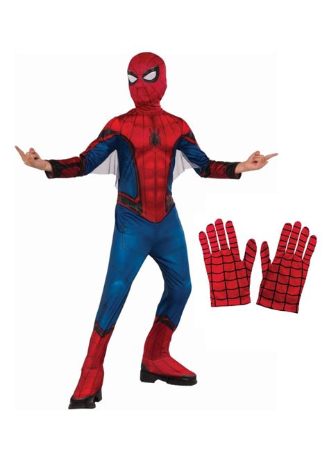 boys spiderman homecoming costume  gloves set