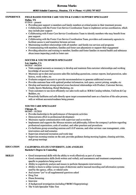 youth specialist resume sles velvet