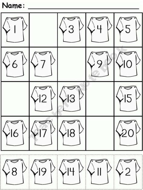 free cut and paste number fill in 1 20 school ideas pinterest
