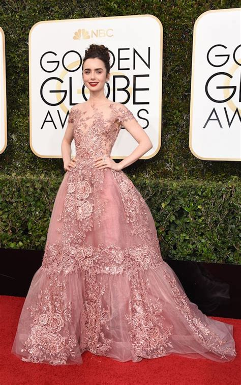 lily collins whimsical golden globes gown