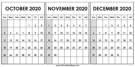 print  october  december  calendar pinterest