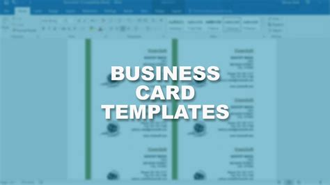 microsoft word  essential training business card template youtube