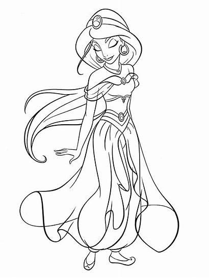Jasmine Coloring Princess Disney Pages Walt Characters