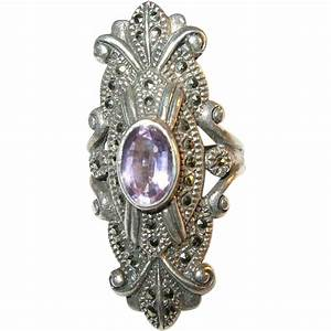 Vintage Sterling Silver Amethyst & Marcasite Ring from ...