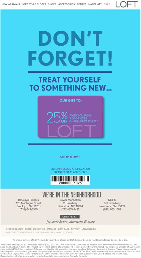 Ann Taylor Loft: 25% off $100 Printable Coupon