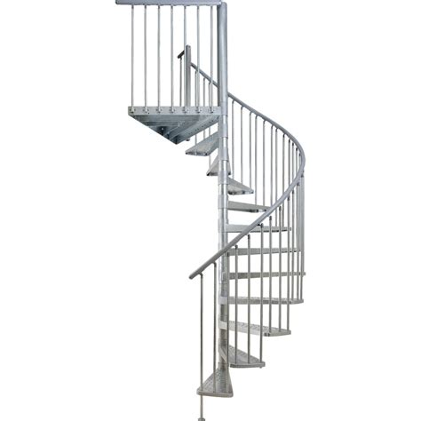spiral staircase lowes shop dolle toronto 61 in x 9 ft galvanized grey spiral staircase kit at lowes com