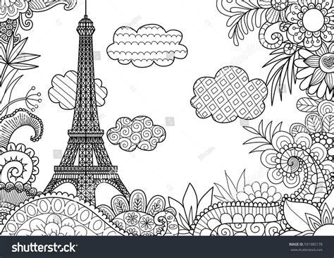 spring paris coloring page stock vector stock vector
