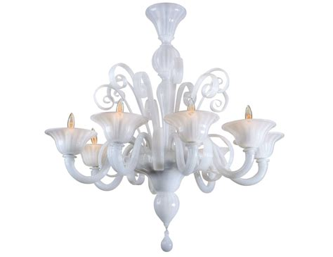 nella vetrina white murano 8 murano chandelier in white glass