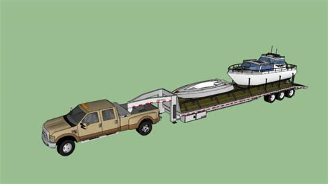 Model Boat Gooseneck gooseneck boat trailer and truck 3d warehouse