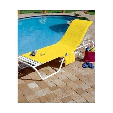 lounge chair cover terry cloth pool patio w pocket tote