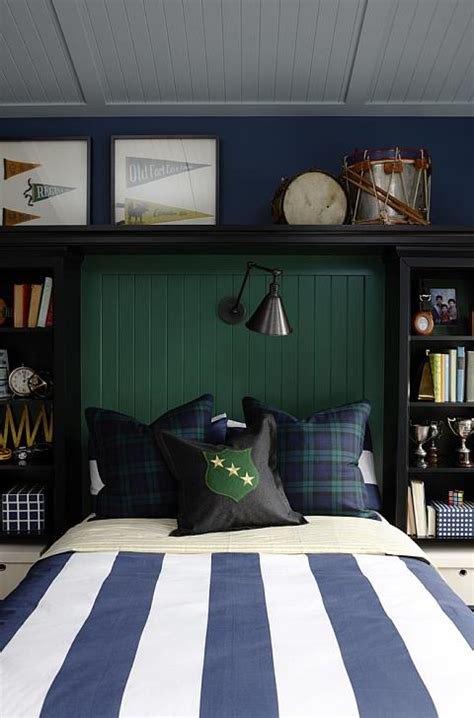 bookshelves flanking bed traditional boys room
